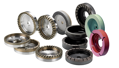 Cup grinding wheels for straight line machines